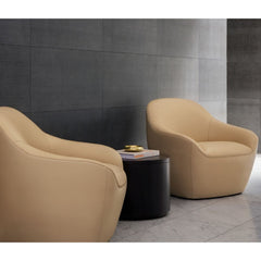Bernhardt Design Terry Crews Becca Chairs Ivory Leather in Hotel Lobby