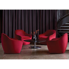 Bernhardt Design Terry Crews Becca Chairs Red Velvet in Hotel Lobby