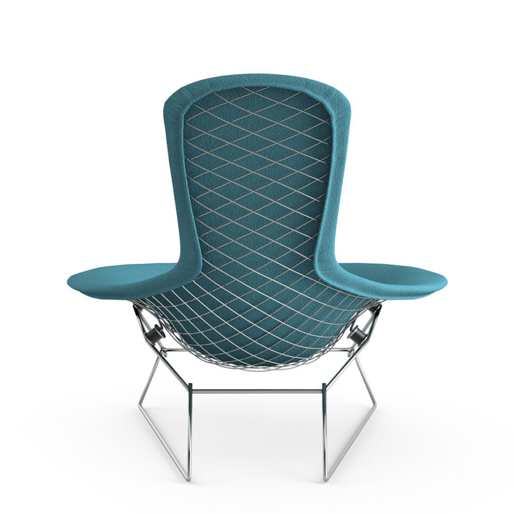 bertoia bird chair  knoll  modern furniture  palette  parlor - bertoia bird chair from behind with teal cover knoll
