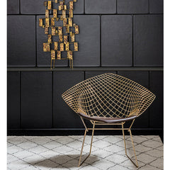 Bertoia Diamond Chair Gold in room with Bertoia Sculpture Knoll