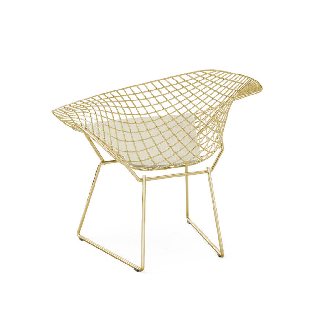 Bertoia diamond chair dimensions - Bertoia Diamond Chair Gold White Vinyl Cushion Back View Knoll