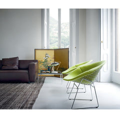 Bertoia Diamond Chairs with Lime Green Covers in room with Leather Barber & Osgerby Sofa
