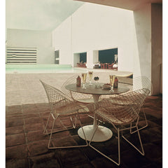Saarinen Table with Bertoia Diamond Chairs Poolside Knoll