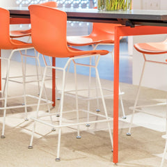 Bertoia Molded Shell Barstools with White Frame by Knoll
