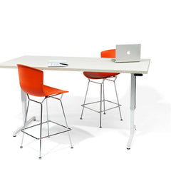 Bertoia Orange Red Molded Shell Counter Stools with Krusin Pixel Adjustable T-Leg Desk by Knoll