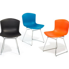 Medium Grey, Blue, and Orange Red Bertoia Molded Shell Side Chairs with Chrome Bases from Knoll