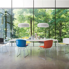 Bertoia Molded Shell Side Chairs with Seat Pads and Richard Schultz Dining Table from Knoll