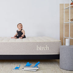 Birch Organic Mattress in room with baby