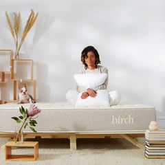Birch Organic Mattress in room with woman