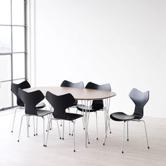 Black Grand Prix Chairs with Walnut Super Elliptical Span Leg Table Arne Jacobsen for Fritz Hansen