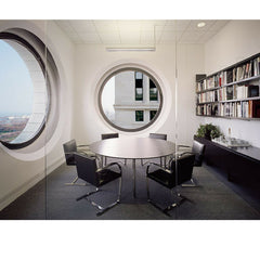 Black BRNO Flatbar Chairs in Conference Room with Round Table Mies van der Rohe for Knoll