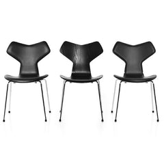 Black Ash and Leather Grand Prix Chairs Arne Jacobsen for Fritz Hansen