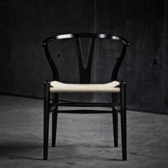 Black Lacquered Wegner Wishbone Chair in Black Room Carl Hansen & Son