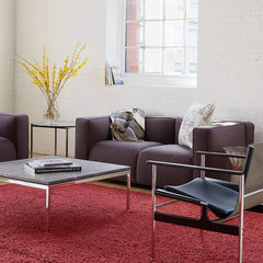 Barber Osgerby Sofa in Loft with Florence Knoll Coffee Table and Pollock Sling Chiars