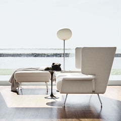 Black Saarinen Side Table in Room with D'Urso Sofa