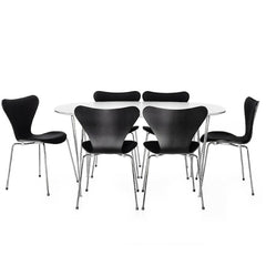 Black Series 7s with White Superelliptical Table Arne Jacobsen Fritz Hansen