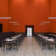 Black Jasper Morrison Basel Chairs in Red Restaurant Vitra