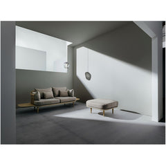 Blown SW3 Pendant with Silver Lustre/Smoke Glass by Samuel Wilkinson with Fly Sofa by & Tradition