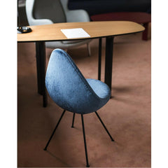 Fritz Hansen Arne Jacobsen Drop Chair Blue Velvet in Royal Copenhagen Hotel Room interior designed by Jaime Hayon