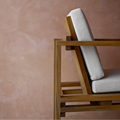 Bodil Kjaer Teak Lounge Chair Side Detail with Cushion Carl Hansen and Son Outdoor Collection