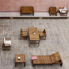 Bodil Kjaer Teak Sofa in situ with Carl Hansen and Son Outdoor Furniture Collection
