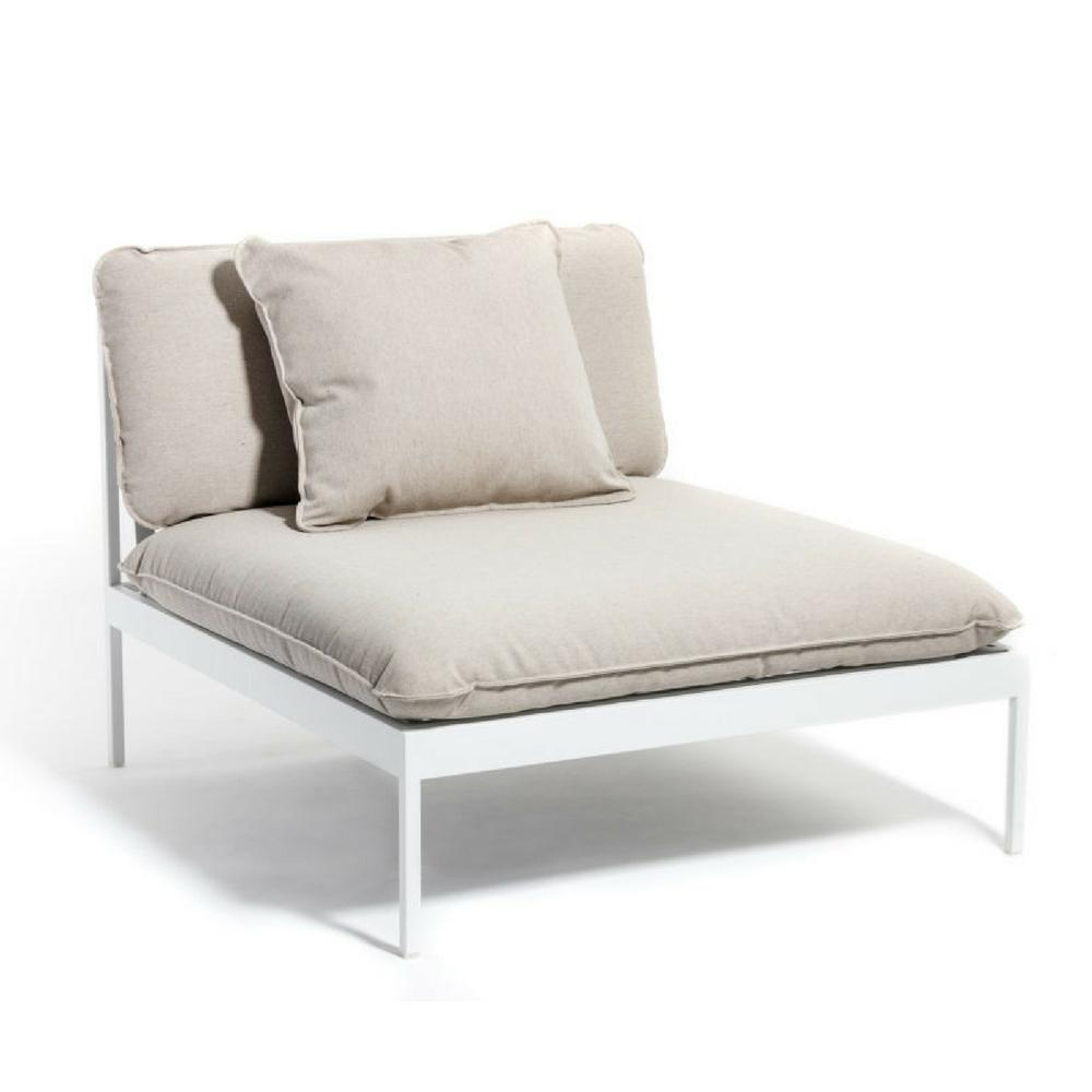 Bönan Lounge Chair with Light Grey Frame and Light Grey Sunbrella Ashe Cushions by Skargaarden