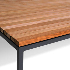 Details of Dark Grey Frame with Teak Table Top of Bönan Lounge Table by Skargaarden