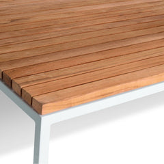Details of Light Grey Frame with Teak Table Top of Bönan Lounge Table by Skargaarden