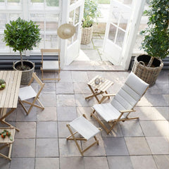 Borge Mogensen BM5768 Teak Footstool with BM5568 Deck Chair and Side Table, Dining Table and Dining Chair by Carl Hansen & Son