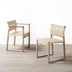 BM61 and BM62 Cane Wicker Chair Collection Oak Oiled by Børge Mogensen for Fredericia