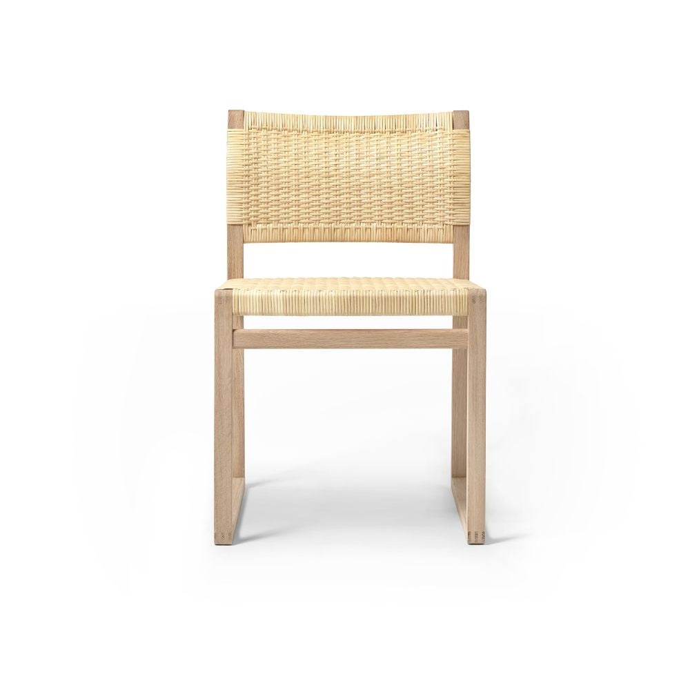 BM61 Cane Wicker Chair Oak Oiled by Børge Mogensen for Fredericia