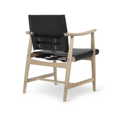 Borge Mogensen Huntsman Chair Black Leather and Oak White Oil Back Carl Hansen & Son
