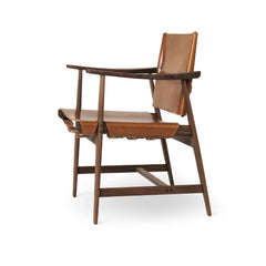 Borge Mogensen Huntsman Chair Cognac Leather and Oiled Walnut Side Carl Hansen & Son
