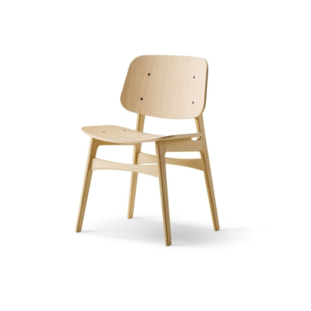Børge Mogensen Søborg Oak Lacquer Wood Chair by Fredericia