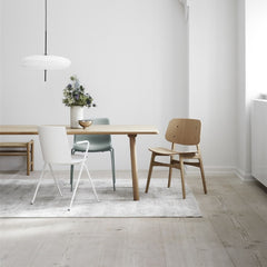 Oak Lacquered Søborg Wooden Frame Chair by Børge Mogensen with Jasper Morrison Taro Dining Table for Fredericia