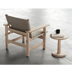 The Canvas Chair with Seat Cushion by Børge Mogensen with the Pon Sidetable by Jasper Morrison, both  for Fredericia