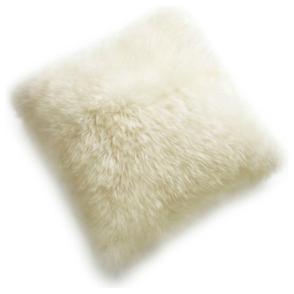 "New Zealand Sheepskin Pillow Ivory 15"" Double Sided"