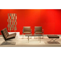 Brown Leather BRNO and Barcelona Chairs in Lobby with Art Mies van der Rohe for Knoll
