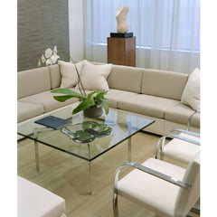 White BRNO Flatbar Chairs in Lobby with Barcelona Table Mies van der Rohe for Knoll
