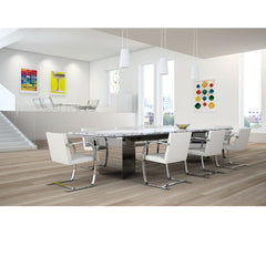 White BRNO Flatbar Chairs in Conference Room Mies van der Rohe for Knoll