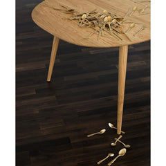 bruunmunch PLAY Lamé Dinner Table in Oak styled with brass flatware