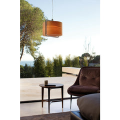 Burkhard Dämmer Icon S Suspension Lamp Natural Beech over Coffee Table LZF Lamps
