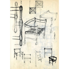 Fritz Hansen Carimate Chair by Vico Magistretti Original Detail Hand Drawings