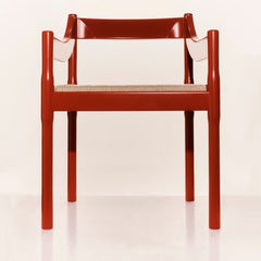 Fritz Hansen Carimate Chair by Vico Magistretti Red Lacquer Front