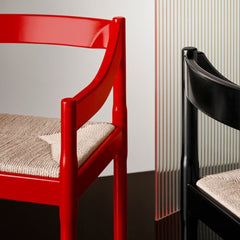 Fritz Hansen Carimate Chairs by Vico Magistretti Red and Black Lacquer Styled