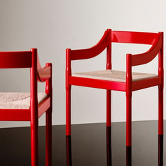 Fritz Hansen Carimate Chairs by Vico Magistretti Red Styled