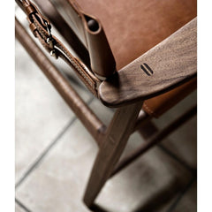 Borge Mogensen Huntsman Chair Cognac Leather and Oiled Walnut Top View Carl Hansen & Son