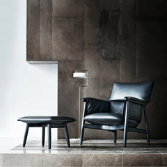 EOOS Embrace Lounge Chair and Ottoman Black Leather Carl Hansen and Son