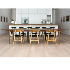 Hans Wegner bar stools and CH33 dining chairs in kitchen Carl Hansen and Son NY Showroom