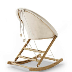 Anker Bak Nest Rocking Chair with Bleached Canvas and Leather Seat cushion Back View Carl Hansen and Son